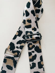 GUNMETAL Pink cheetah bag strap