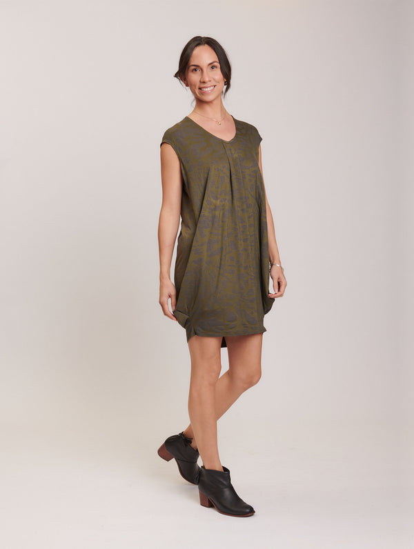 Natasha S/S Dress Olivine Animal