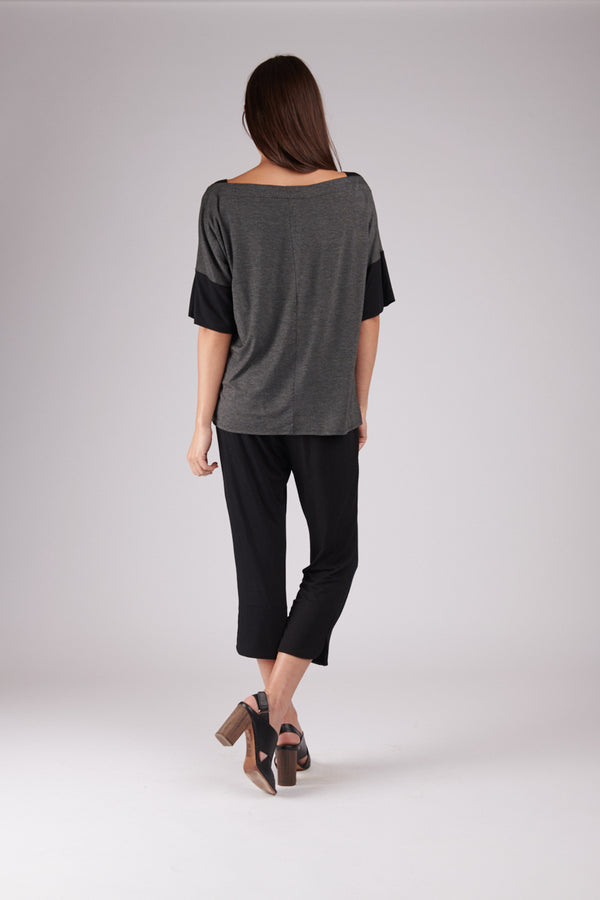 Carly Top Charcoal with Black