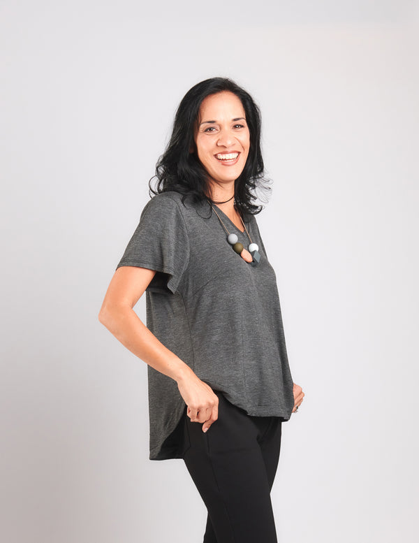 Becca V Neck Top Charcoal