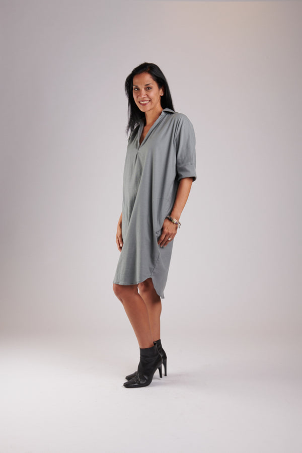 Sarah Dress Tungsten Linen