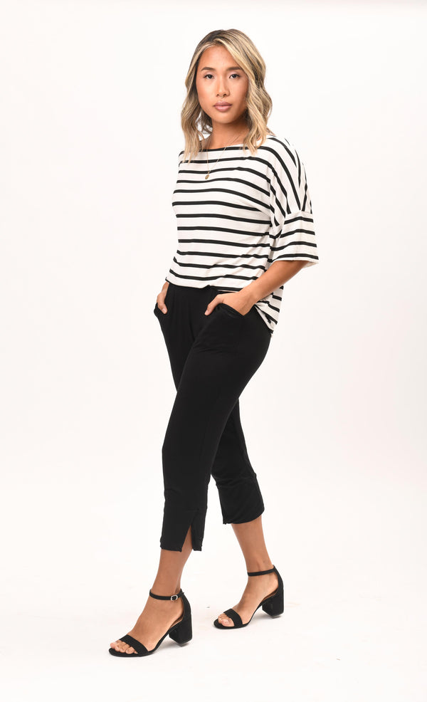 Carly Top White / Black Stripe