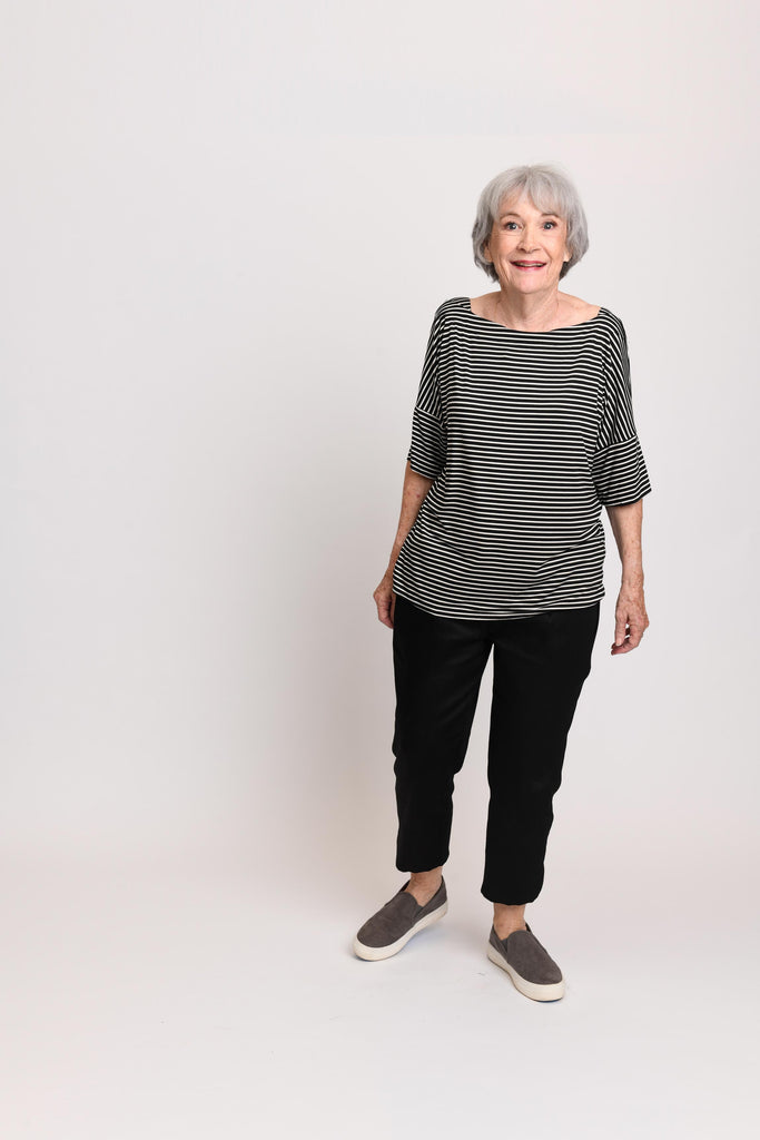 Carly Top Black / White Stripe