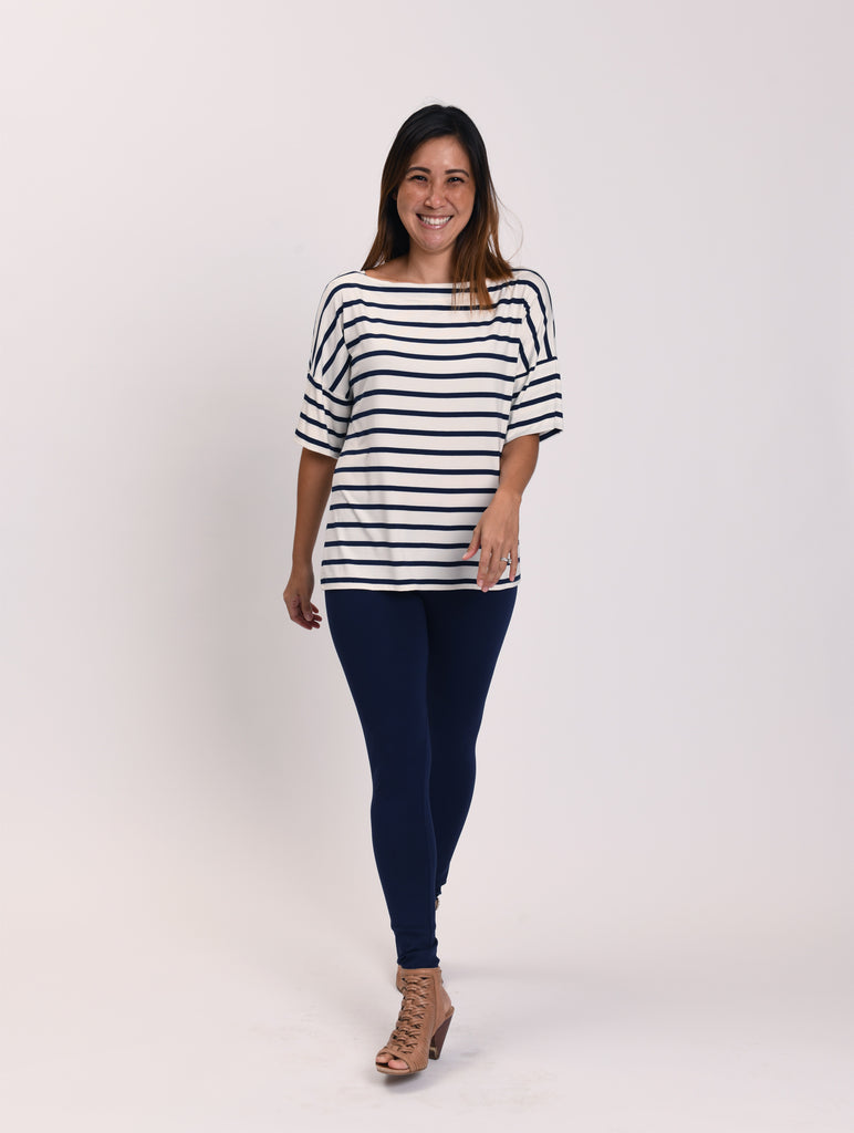 Carly White and Navy Stripes