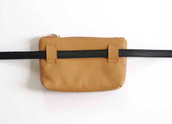 Waist Bag Camel with Black Belt