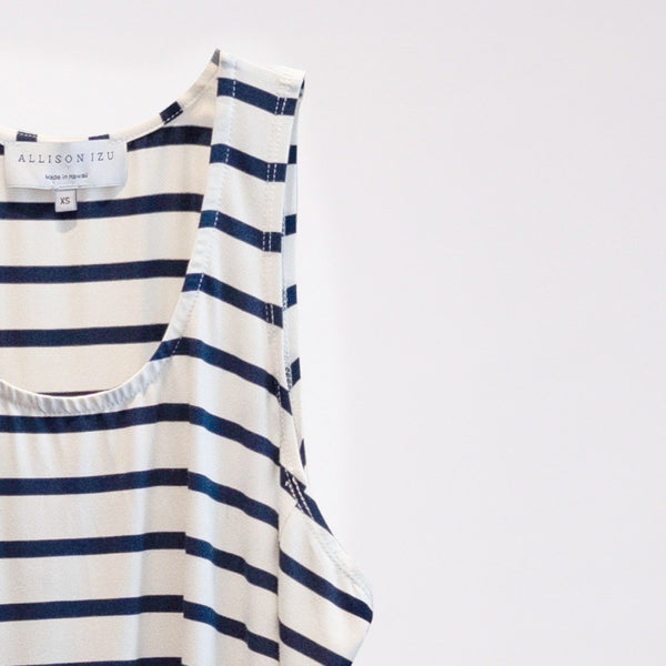 Rea Tank White and Navy Stripes