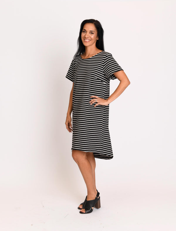 FINAL SALE - Chris Dress Black Stripes Double Knit