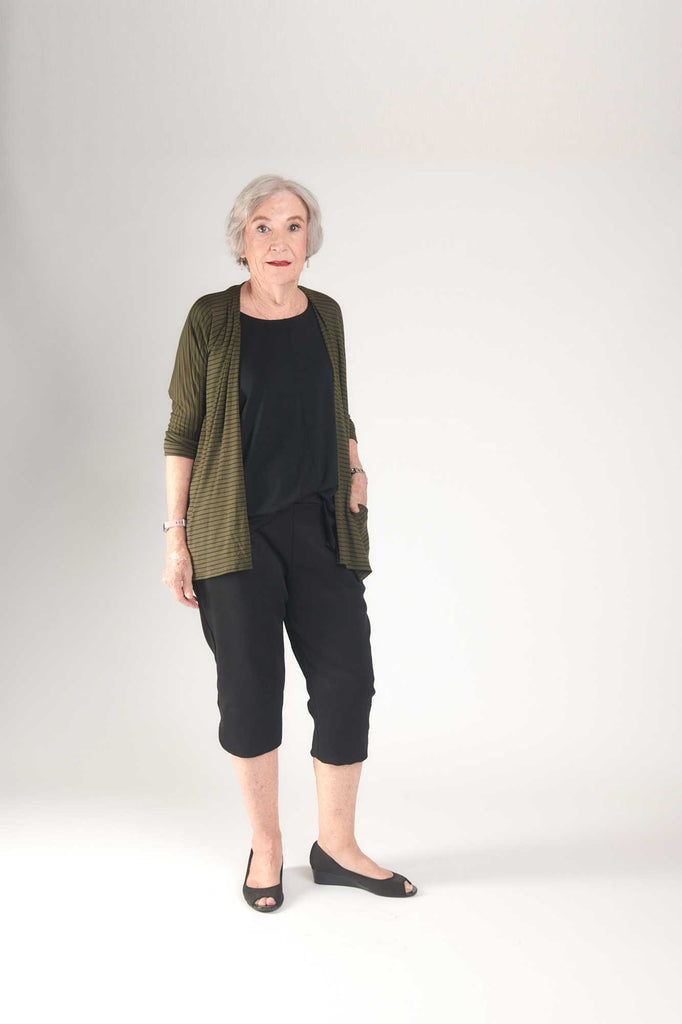 Loren Kimono Olive with Black Stripes