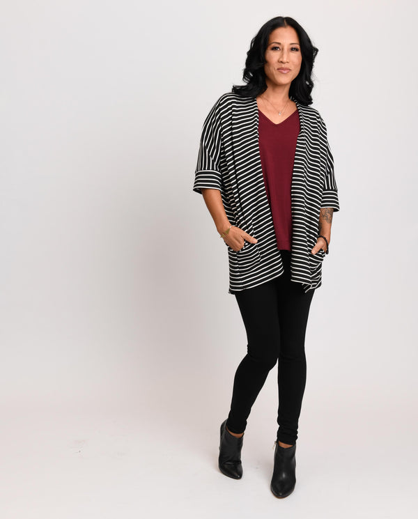 Loren Kimono Black / White Stripe Double Knit