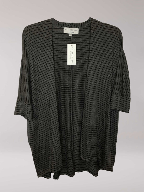 Loren Kimono Charcoal with Black Stripes