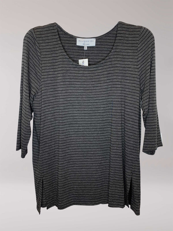 Mandy 3/4 Top Charcoal with Black Stripes