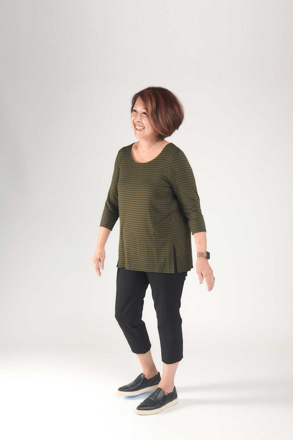Mandy 3/4 Top Olive with Black Stripes