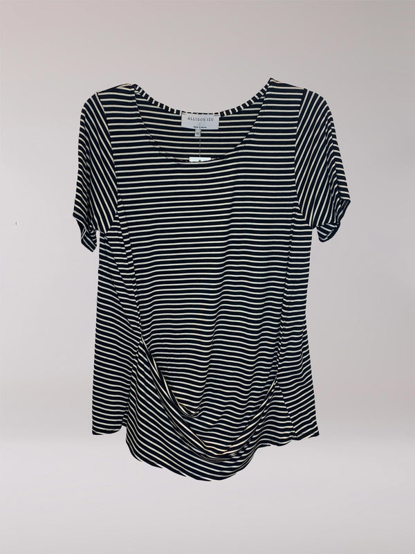 Marcie Top Black and White Stripes