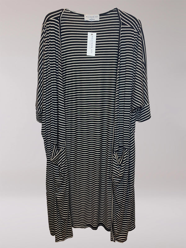 Milla Duster Black and White Stripe