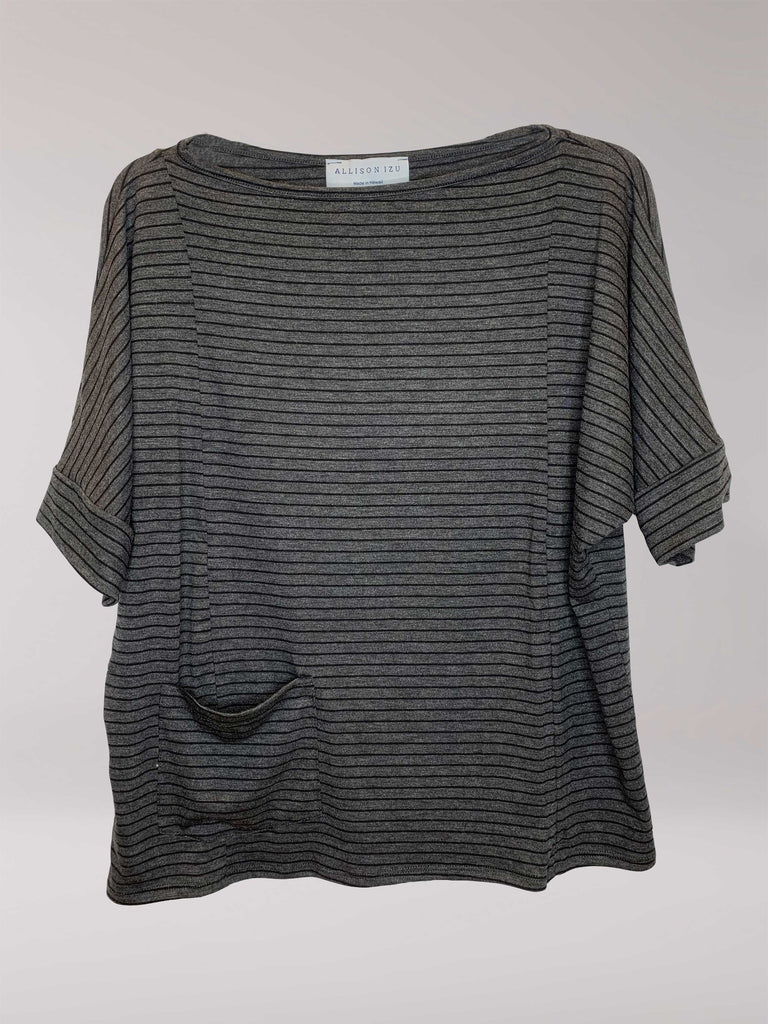 Sami Boatneck Top Charcoal With Black