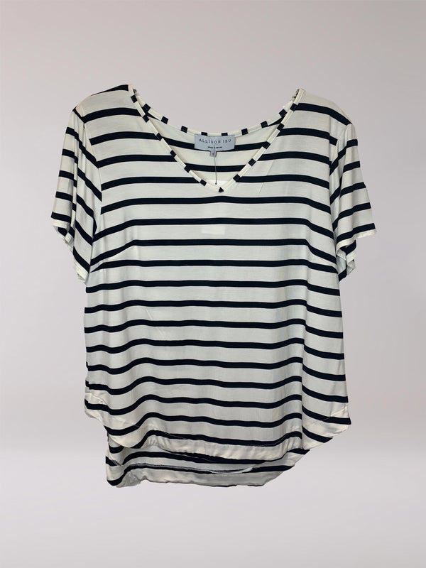 Becca V-Neck Black / White Stripe