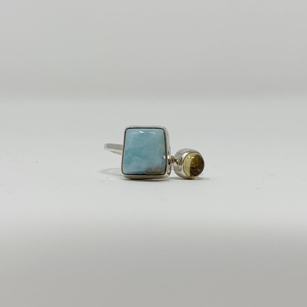 Faris Kei  Designs - Larimar & Citrine Ring (Sterling Silver)