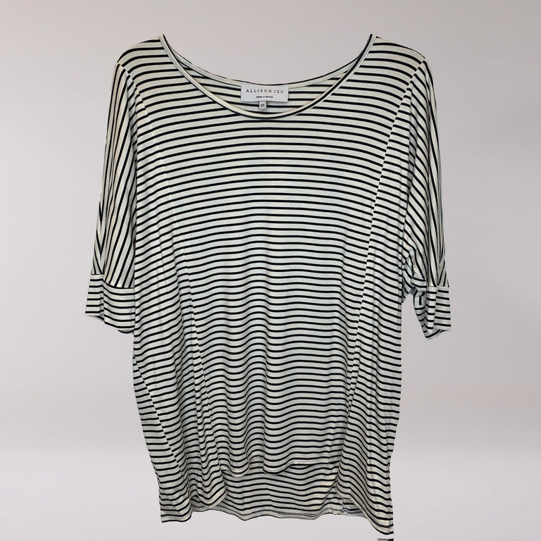 Misa Top White w/ Black Thin Stripe