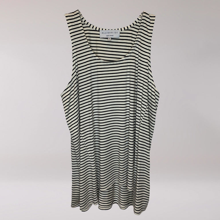Rea Tank Thin White/Black Stripes