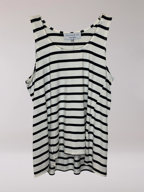 Rea Tank White/Black Stripe