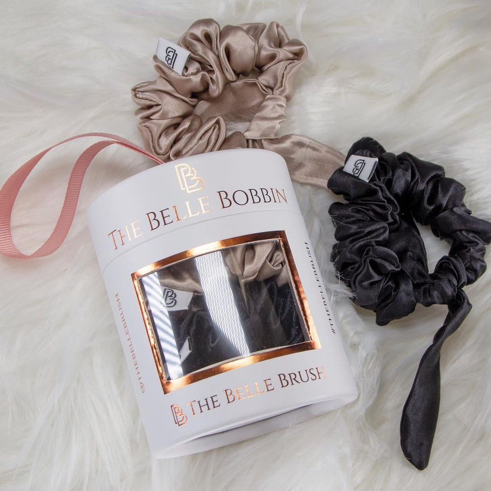 The Belle Bobbin - 2 x 100% Mulberry Silk Scrunchies - Black & Champagne