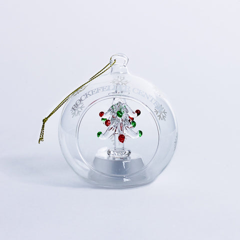 Rockefeller Center Glass Tree Light Up Ornament