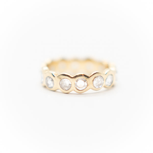18k Rose Cut Diamond Eternity Ring