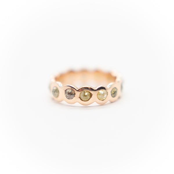 14k Rose Gold Rose Cut Natural Diamond Eternity Band