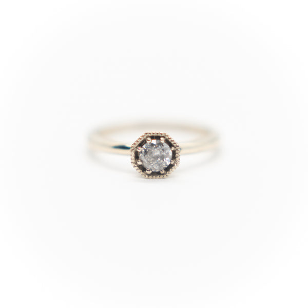 14k White Gold Salt & Pepper Diamond Ring
