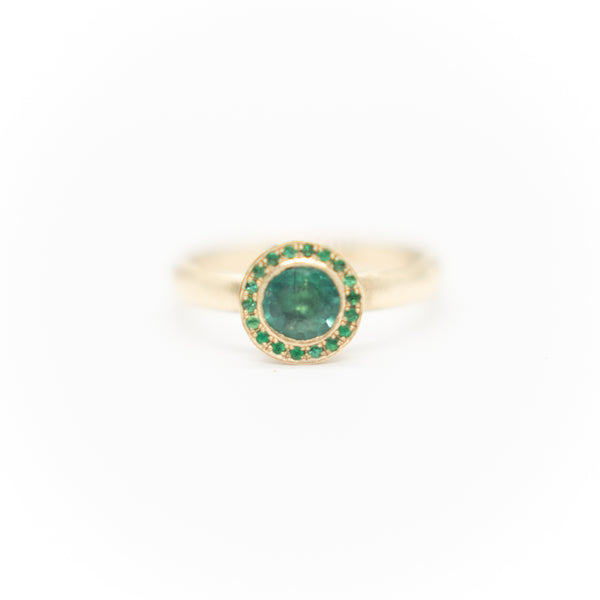 Emerald on Emerald Halo Ring