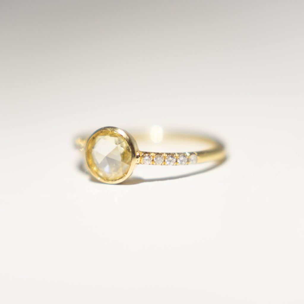 Yellow Rose Cut Diamond Ring
