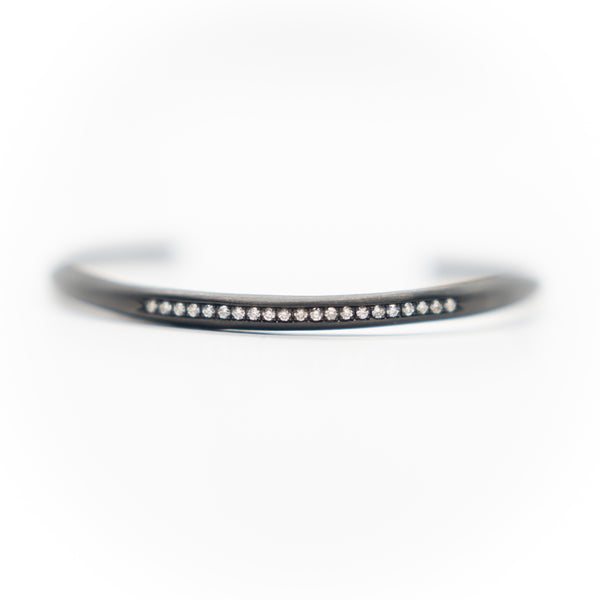 Diamond Line Stacking Bracelet - Black