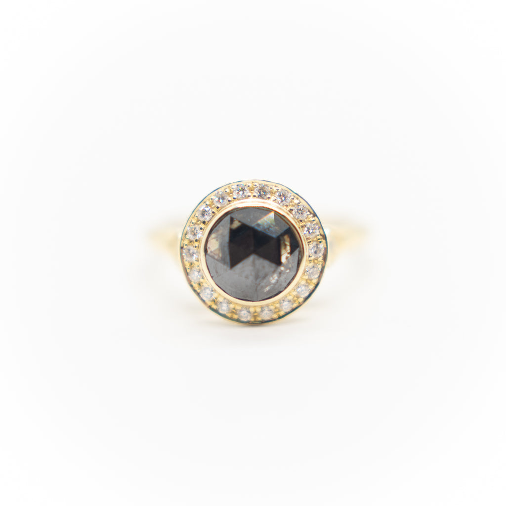 Rose Cut Black Diamond Ring