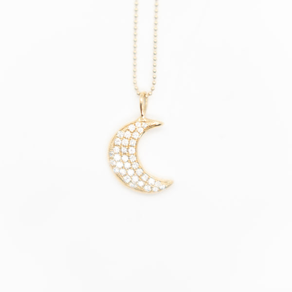 14k Gold Large Crescent Moon Necklace with Micro Pave Diamonds