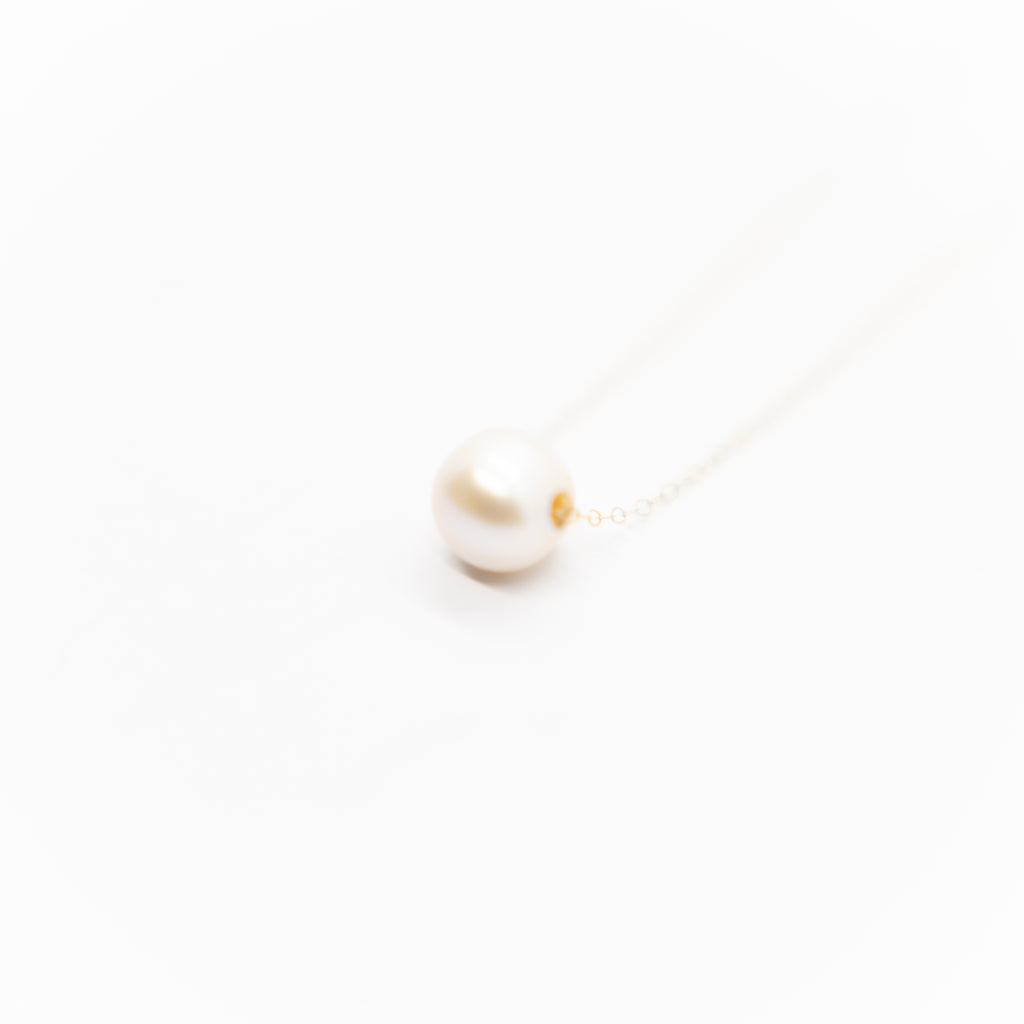 White Pearl Slider Necklace