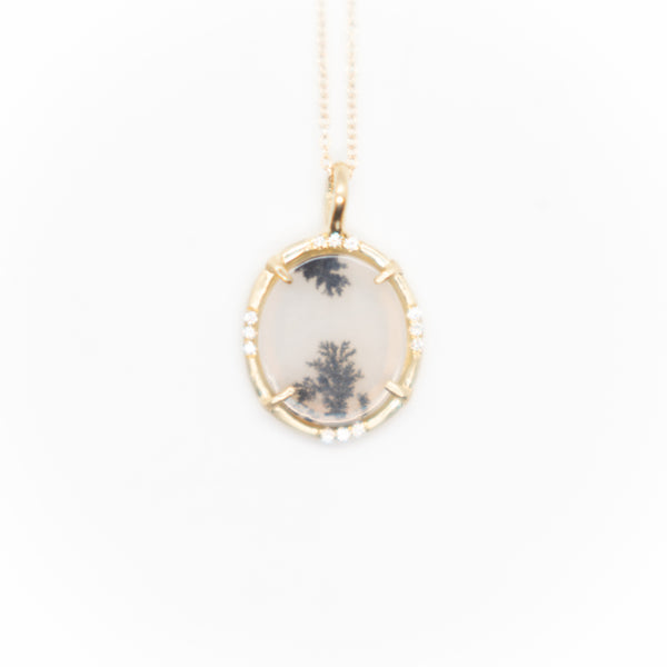 Yellow Gold Dendritic Agate Pendant Necklace