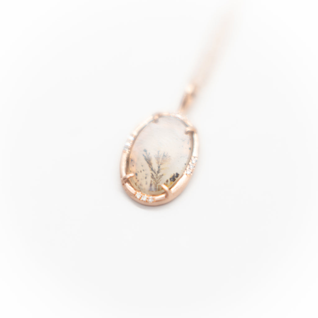 Rose Gold Dendritic Agate Pendant Necklace