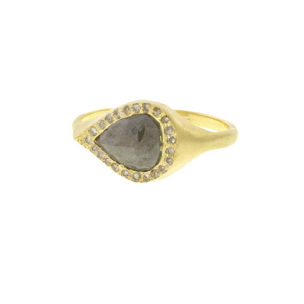 14k Gold Natural Grey Diamond Teardrop Ring