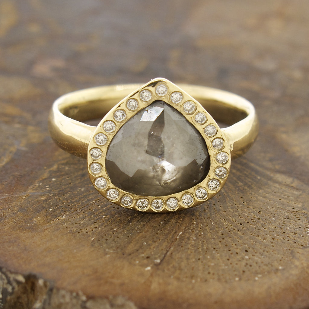 14k Gold Natural Rose Cut Grey Diamond Ring with Pave Halo