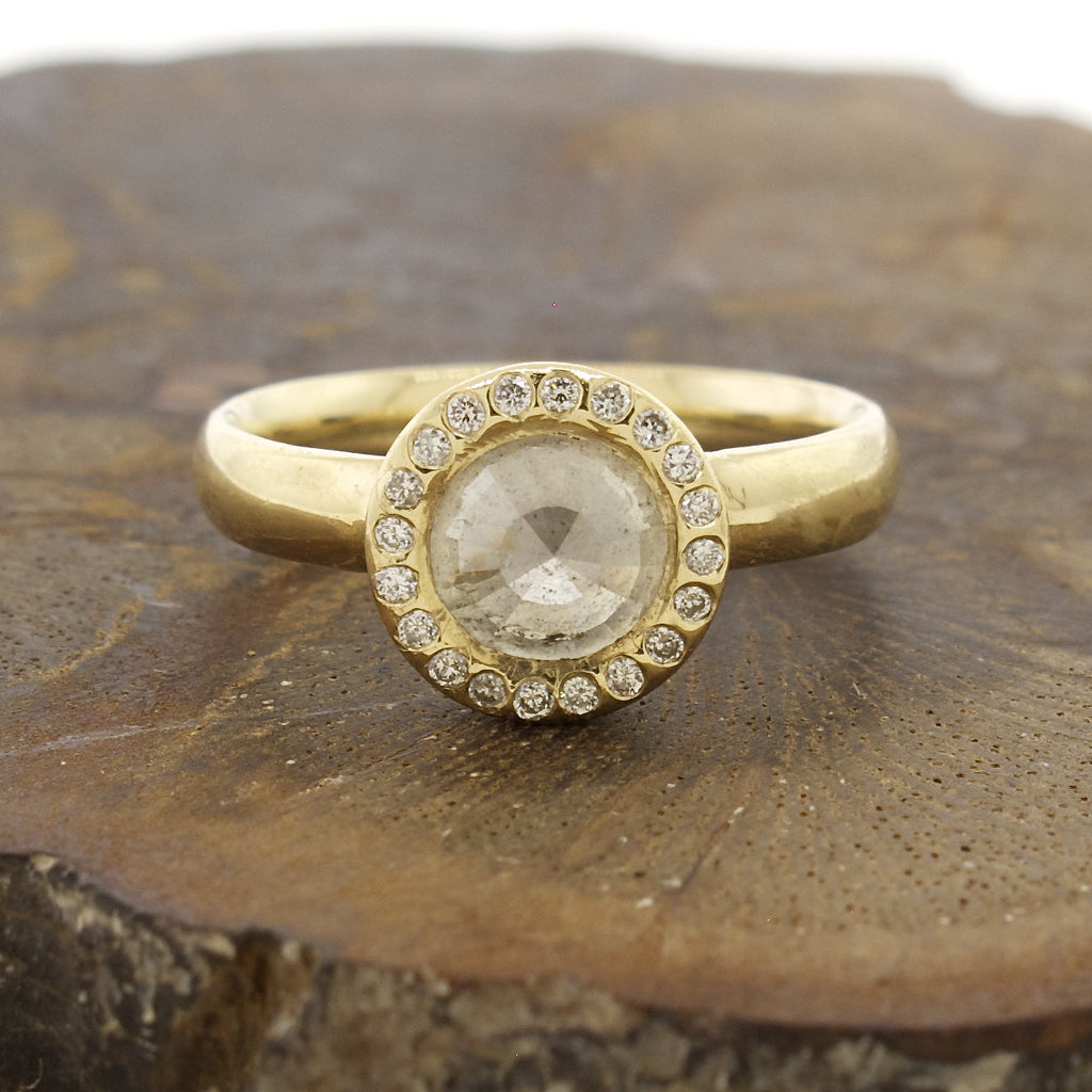 14k Gold Natural Rose Cut Milky White Diamond Ring with Pave Halo