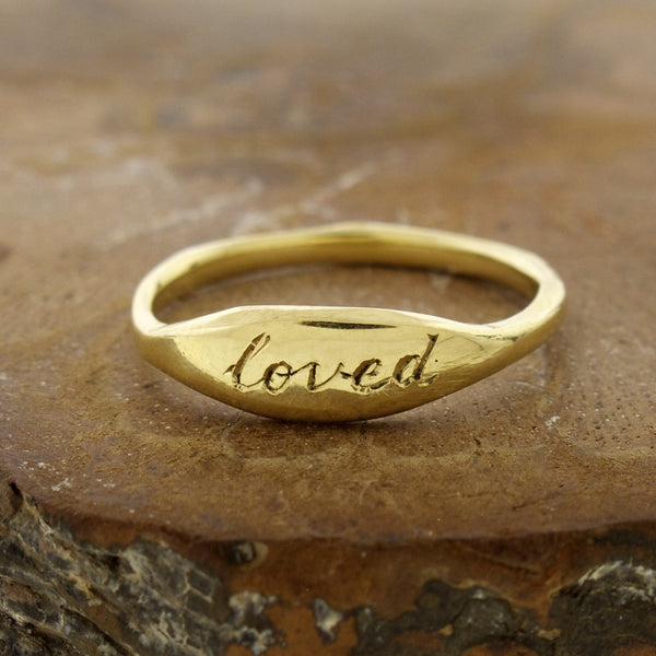 "14k Gold Posey ""Loved""  Ring"