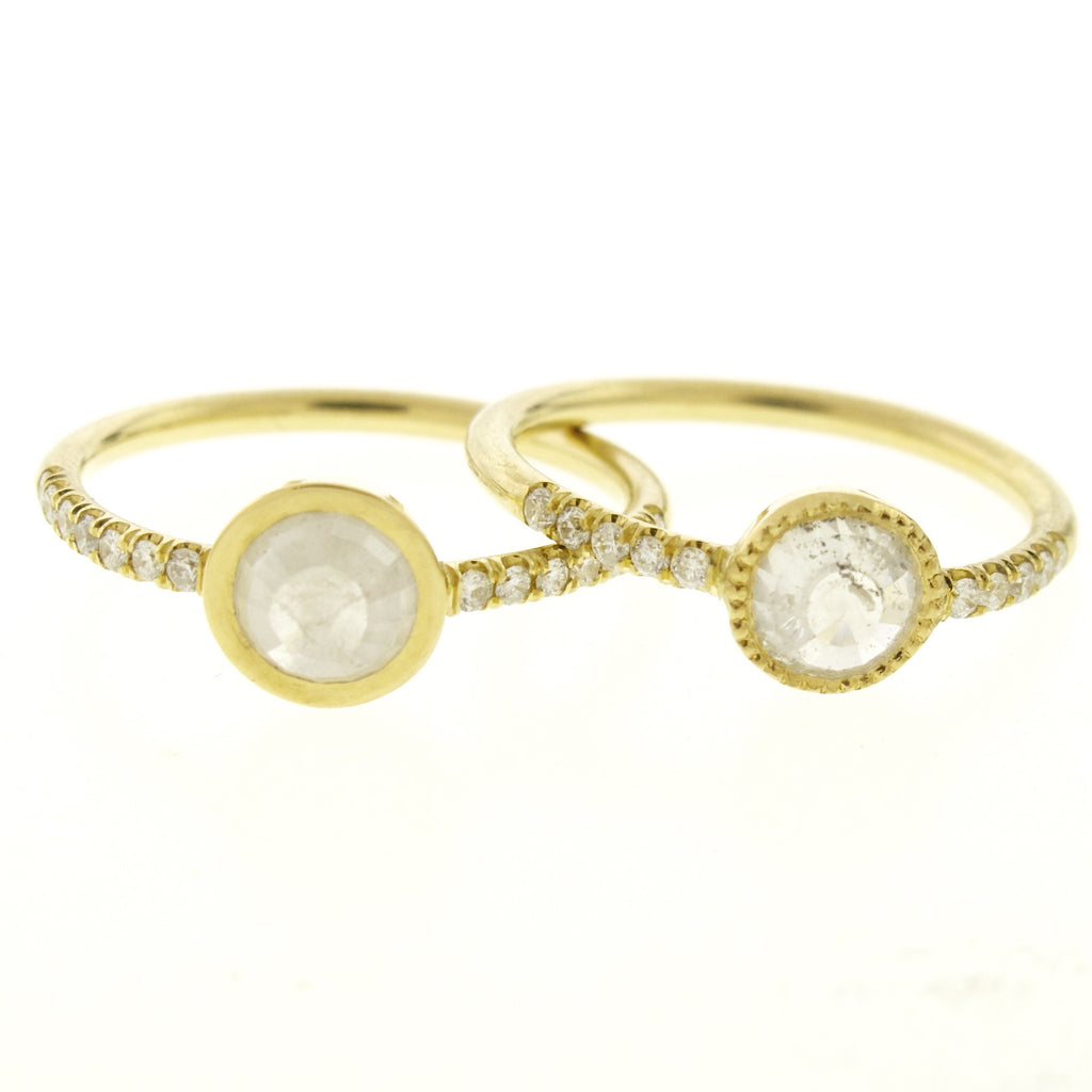 18k Gold Natural Rose Cut Milky White Diamond Ring with Pave Diamond Band
