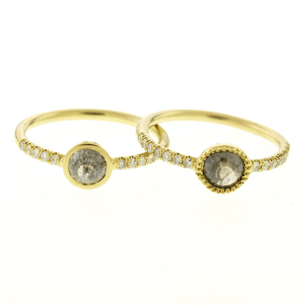 18k Gold Natural Grey Diamond Ring with Pave Diamond Band