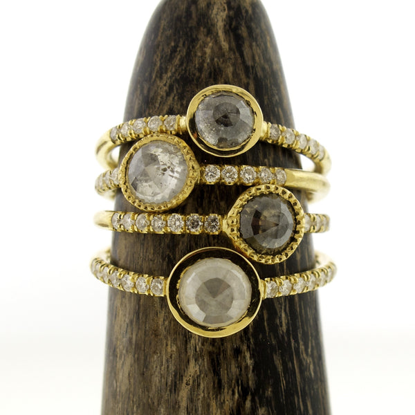 18k Gold Millgrain Set Natural Grey Diamond Ring with Pave Diamond Band
