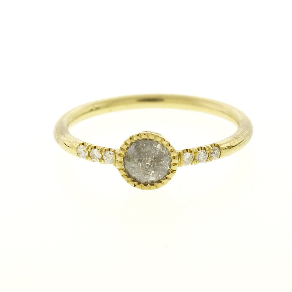 18k Gold Millgrain Set Natural Grey Diamond Ring with Pave Diamond Shoulder