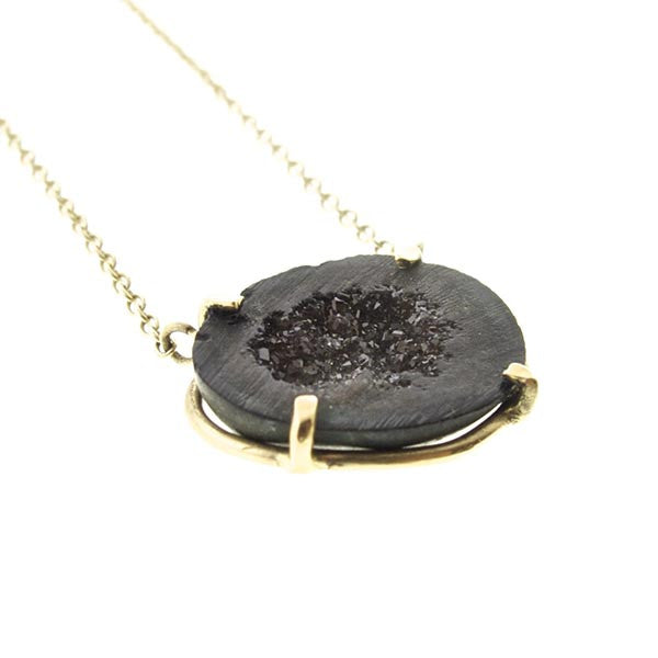 14k Gold Tabasco Micro Geode Necklace