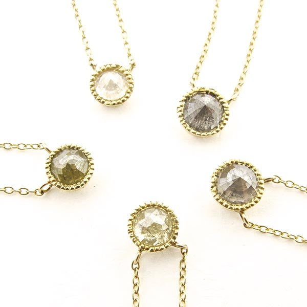 18k Rose Cut Solitaire Deep Grey Natural Diamond Necklace