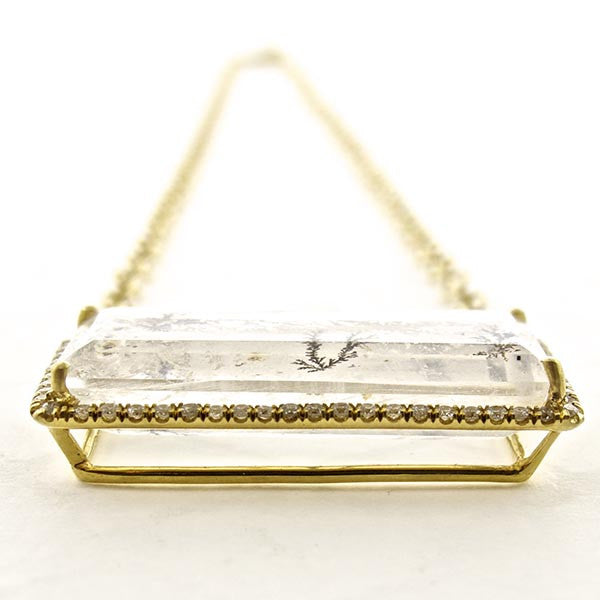 18k Gold Dendritic Quartz Necklace with Rectangle Diamond Halo