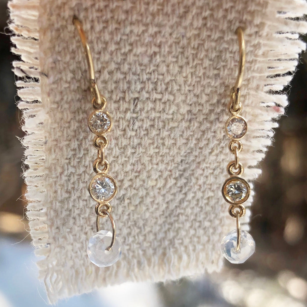sunlight diamond & moonstone earrings
