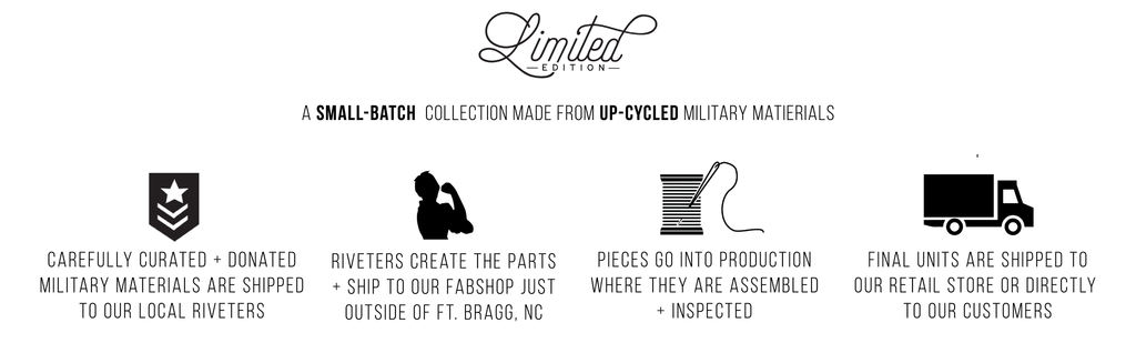 Limited recycled military material bags and accessories